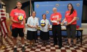 From L-R: Volleyball Sports Envoy Eric Hodgson, Asilo de San Vicente de Paul Finance and Administration in-charge Sr. Daisybeth Dimaunahan, Asilo de San Vicente de Paul Administrator Sr. Melly Espinili, U.S. Embassy Manila Deputy Chief of Mission Michael S. Klecheski and Volleyball Sports Envoy Michelle Goodall.