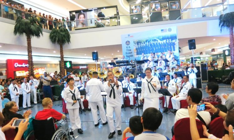 Making Music Together: The U.S. Navy 7th Fleet Band jams with the Philippine Navy Band in a full-house back-to-back concert at the SM Mall of Asia.