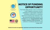 U.S. Embassy in the Philippines Releases Notice of Funding Opportunity for YSEALI Summit 2017.